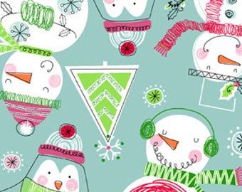 Snuggle Flannel Fabric - Scribbled Snowmen - 34 inches