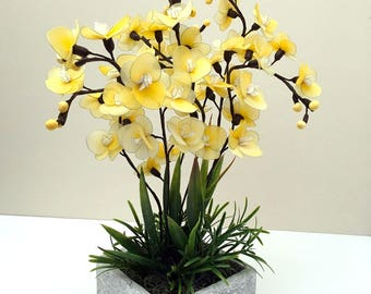 Handmade Nylon Flower Arrangement, Yellow Nylon Orchids, Handmade Flowers, Gift, Craft Flowers, HomeDecor, Floral décor,  Floral tabletop