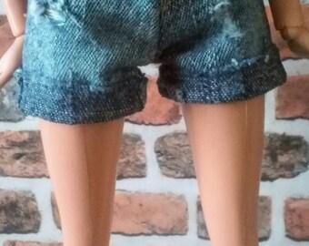 Denim Cutoff Cuffed Distressed Shorts for Barbie or similar size doll