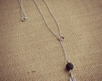 Lava Stone Diffuser Necklace • Lariat Style Necklace • Feather Necklace • Essential Oil Necklace • Aromatherapy Jewelry • Nature Jewelry