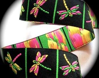 "Woven Ribbon ""Dragonfly"" Ribbon - 1"" x 2 1/8 yards Black, Lime and Pink"