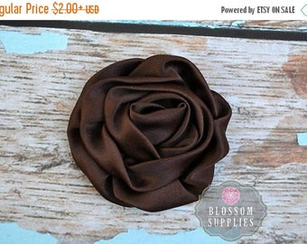 ON SALE BROWN Satin Flowers - The Elizabeth Collection - Large Satin Ruffled Rolled Rossettes - Diy Flower Headbands - Dark Brown Flowers Bl