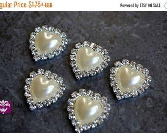 ON SALE Heart Metal Pearl Rhinestone FLATBACK Embellishments 20x19mm - Flower Centers - Wedding Bridal Prom - Ivory Pearl - Flower Center Wh