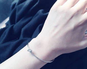 ON SALE Gold or silver slide on ball bangle - slide on bracelet
