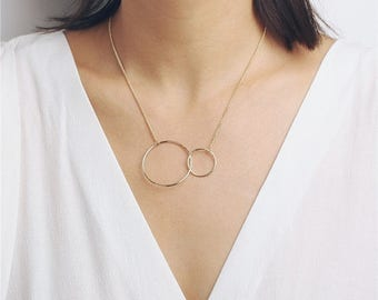 ON SALE Delicate simple everyday large double open circle necklace