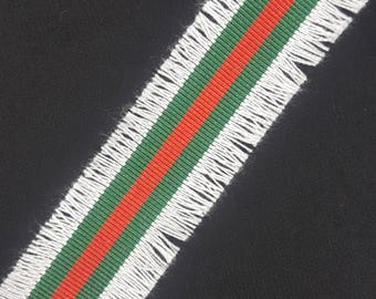 Red Green Fashion Trim Ribbon with White Fringe, Double Face Trim, DIY Choker Trim, DIY Belt Trim
