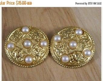 ETSYCIJ Berebi Gold Art Nouveau Style Round Clip On Earrings with Faux Pearls / Vintage Goldtone Large Round Clip Earrings / Designer Clip E
