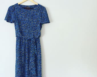 1980s Blue Sarong Style Dress
