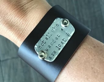 Leather cuff. Leather bracelet. Graduation Gift. Gift for her. Not all who wander are lost. Travel Gift. Inspirational Gift.