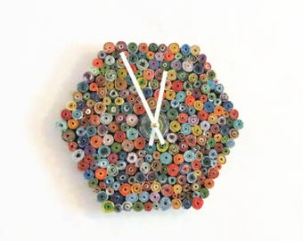 Unique Wall Clock, Hexagon Clock, First Anniversary Paper Gift, Eco Home Decor, Decor and Housewares, Home and Liiving