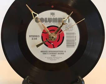 """Recycled BRUCE SPRINGSTEEN 7"""" Record / FIRE / Record Clock"""