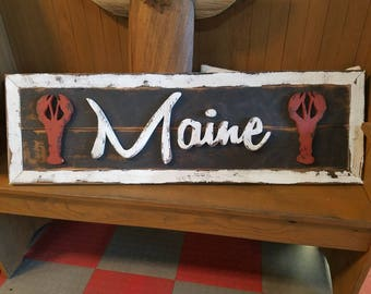"""Rustic """"Maine"""" Sign - vintage-style state of Maine, lobsters"""