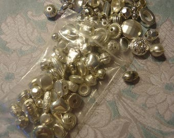 Lot of Vintage, New Old Stock, Silver Tone Metalized Beads, 2.5 Oz, Nice Quality, Lot 1