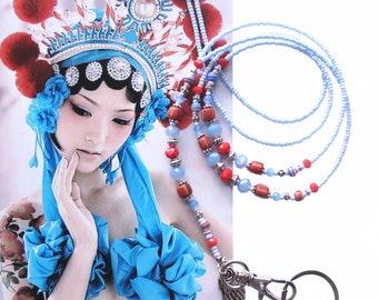 Lanyard, Blue silver and red, Cheap Shipping, Beaded ID holder, badge holder, Key chain, fashion lanyard accessory, beaded lanyard, Boho