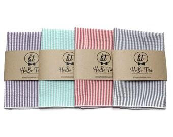 Seersucker Pocket Square~Stripe~Wedding Accessory~Anniversary Gift~Mens Pocket Square~Preppy Gift~Purple~Mint~Coral~Gray~Valentines Day Gift