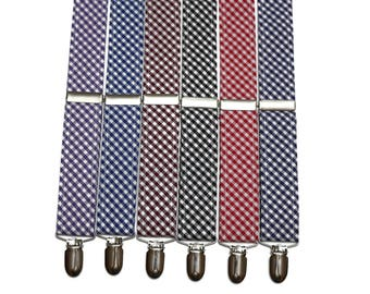Gingham Check Suspenders~Groomsmen Accessory~HoBo Ties~Groom~Plaid Suspenders~Mens suspenders~Wedding Accessory~Blue~Black~Red~Burgundy~Navy