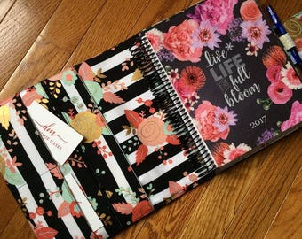 Planner cover Black, White, Mint & Blush Piper Floral fabric Made to Order
