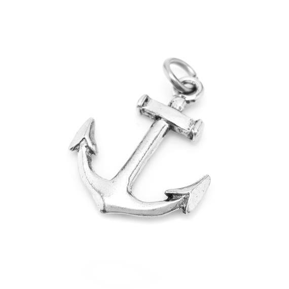 Anchor Large Charm / Pendant - Nautical Jewelry - Beach Charm - Ocean Jewelry - Navy - Ship - Sailing - Motivational - Boho Summer - Pewter