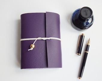 Purple Leather Wedding Journal Planner Gift, Blank Book, Purple Leather, Mindfulness Journal, Gratitude Journal, Wrap Journal
