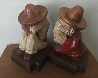 Vintage Hand Carved Bookends