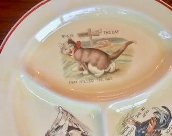 Children's Divided Plate, The House That Jack Built,  Roma by Knowles Pottery ca. 1920