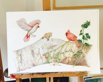 ORIGINAL ARTWORK, Original drawing of White Birch Yule Log with Cardinals Winter Solstice, Yule Tide, Christmas Time, by Paula Kuitenbrouwer