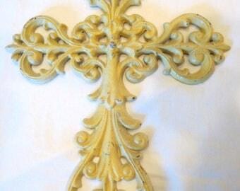 "Vintage Cast Iron Wall Mount Decorative Cross Crucifix Religious Fleur de Lis Ivory White Painted 14"" Catholic Christian"