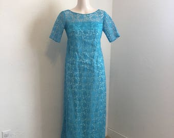 vintage evening gown, blue lacy dress, Party Time Toronto dress, vintage formal wear