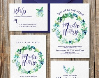 Watercolor save the date, Green wedding invitation, cottage chic wedding, rustic wedding, save the date, DIY