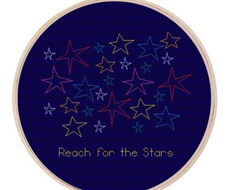 Reach For The Stars, Cross Stitch, Embroidery, Pattern, PDF