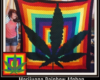 Marijuana Leaf Afghan, C2C Graph, Written Word Chart
