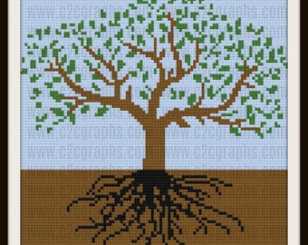 Tree of Life Afghan, C2C Graph, Written Word Chart, Crochet Pattern