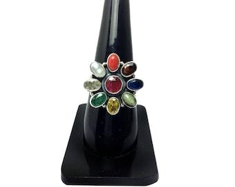 Navratana Gemstones Ring 925 Sterling Silver jewelry Studded Precious Nine Planet Gems Religious Astrology Spiritual unisex Ring Lucky Charm