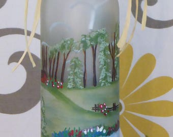 Lighted Landscape Wine Bottle - Hand Painted Spring Summer Decor, Accent Lamp, Frosted Glass, Housewarming Gift, Hostess Gift, Summer Picnic