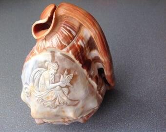 Vintage italian shell lamp shage cameo hand carved