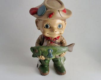 Vintage Fisherman Figurine Smiley Kids Atlantic Mold 1970's