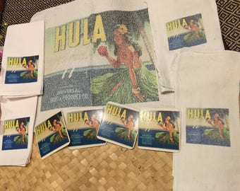 HULA Art-LOT of 9 ITEMS Linens & Towels-Tea Towels w/ Vintage Fruit Label Art-Cocktail Napkins and Coasters/Dishcloths/Kitchen - Hula Dancer
