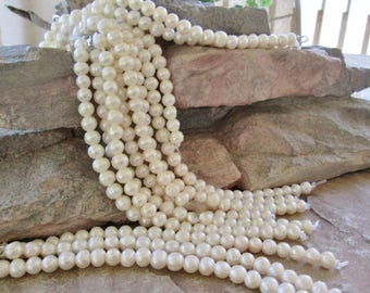 Freshwater Potato Pearl Large Hole Bead Creamy White 5.5-8 mm 7.5""
