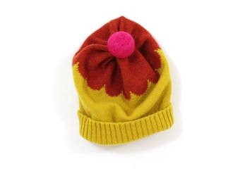 Fleur (Flower) Hat - soft knitted wooly hat, knitted beanie, woman's winter knit hat, yellow