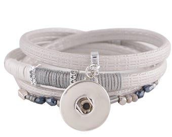 "1 Gray Leather Bracelet - 6.75"" FITS 18MM Candy Snap Charm Jewelry Silver KC0032 CJ0811"
