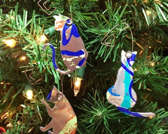3 La Croix Kitty Ornaments-Embellishment-Floral Arrangement Decoration-Wedding Decor-Scrapbook-Ornament Exchange-Upcyled Soda Can