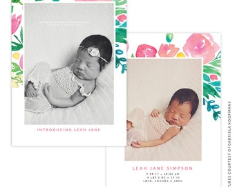 INSTANT DOWNLOAD - PSD 5x7 Birth Announcement Template -  E1494