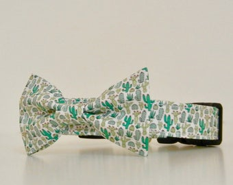 Cactus Summer Green Dog Bow Tie Dog Collar Accessories Made to Order