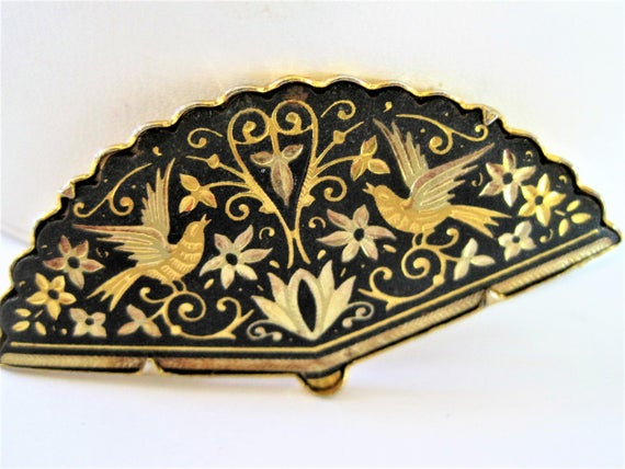 Damascene Fan Brooch - Vintage Birds in Flight  - Gold Tone Pin