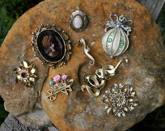 Vintage Costume Jewelry Brooches Lot of 8 Cameos Rhinestones