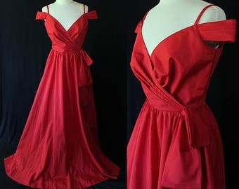 Southern Belle Gown, Off Shoulder, Red Ball Gown, 80s Prom Dress