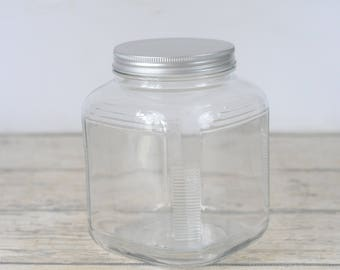 Anchor Hocking Hoosier Clear Square Ribbed Glass Jar Canister Lid