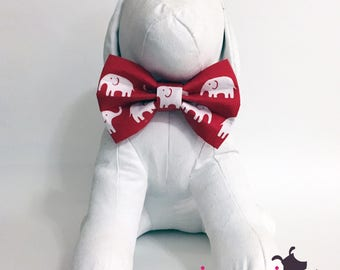 Big Red Elephant University of Alabama Roll Tide Dog Bow Tie