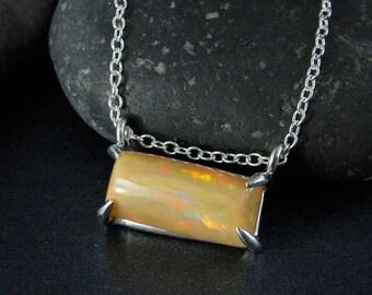 ON SALE Australian Opal Bar Necklace - Horizontal Necklace - 925 Silver