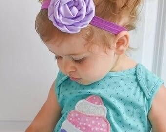Purple Headband -  Satin Like Flower - Newborn Infant Toddler Girls Adult - Lilac lavender